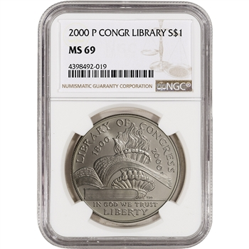 2000-P US Library of Congress Commemorative BU Silver Dollar - NGC MS69