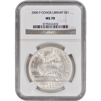 2000-P US Library of Congress Commemorative BU Silver Dollar - NGC MS70