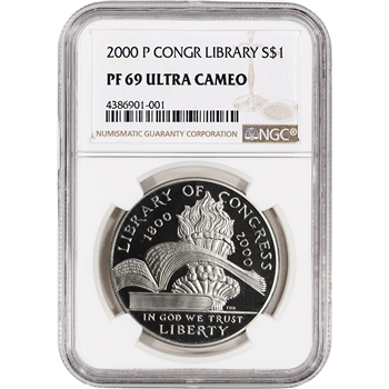 2000-P US Library of Congress Commemorative Proof Silver Dollar - NGC PF69 UCAM