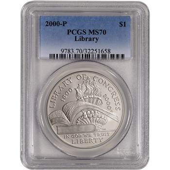 2000-P US Library of Congress Commemorative BU Silver Dollar - PCGS MS70