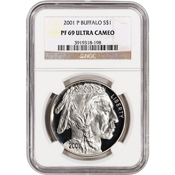 2001-P US American Buffalo Commemorative Proof Silver Dollar - NGC PF69UCAM