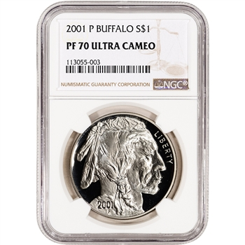 2001-P US American Buffalo Commemorative Proof Silver Dollar - NGC PF70 UCAM