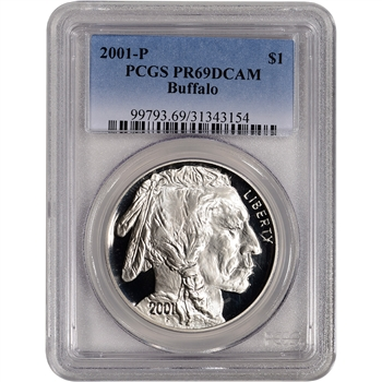 2001-P US American Buffalo Commemorative Proof Silver Dollar - PCGS PR69DCAM