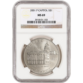 2001-P US Capitol Visitor Center Commemorative BU Silver Dollar - NGC MS69