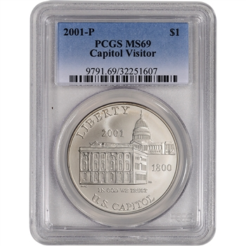 2001-P US Capitol Visitor Center Commemorative BU Silver Dollar - PCGS MS69