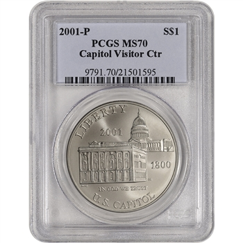 2001-P US Capitol Visitor Center Commemorative BU Silver Dollar - PCGS MS70