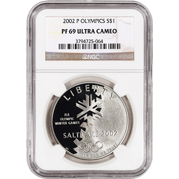 2002-P US Salt Lake City Olympic Commem Proof Silver Dollar - NGC PF69UCAM
