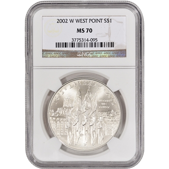 2002-W US Military Academy West Point Commemorative BU Silver Dollar - NGC MS70