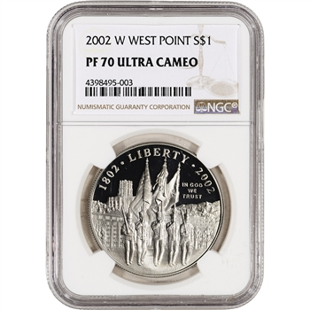 2002-W US Military Academy West Point Commem Proof Silver Dollar - NGC PF70 UCAM