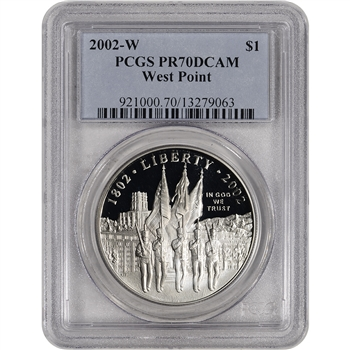 2002-W US Military Academy West Point Commem Proof Silver Dollar - PCGS PR70