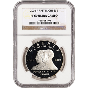 2003-P US First Flight Commemorative Proof Silver Dollar - NGC PF69UCAM