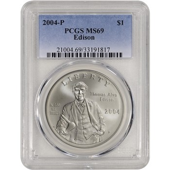 2004-P US Thomas Alva Edison Commemorative BU Silver Dollar - PCGS MS69