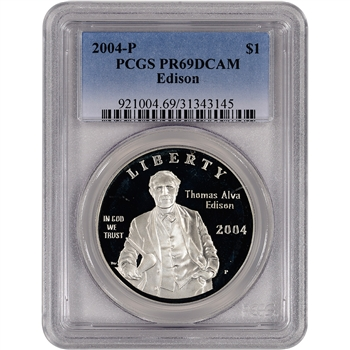 2004-P US Thomas Alva Edison Commem Proof Silver Dollar - PCGS PR69DCAM