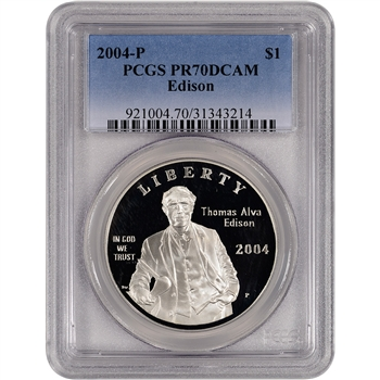 2004-P US Thomas Alva Edison Commem Proof Silver Dollar $1- PCGS PR70 DCAM