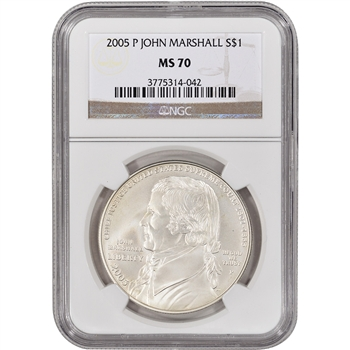 2005-P US Chief Justice John Marshall Commemorative BU Silver Dollar - NGC MS70
