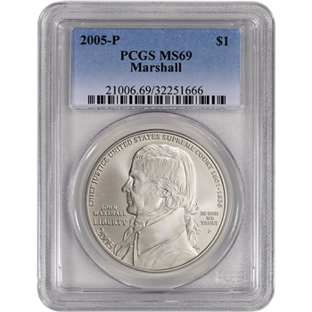 2005-P US Chief Justice John Marshall Commemorative BU Silver Dollar - PCGS MS69