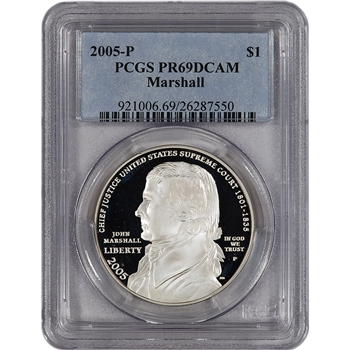 2005-P US Chief Justice John Marshall Commem Proof Silver Dollar - PCGS PR69DCAM