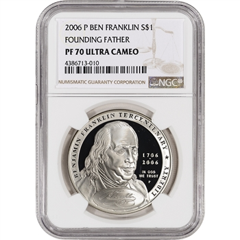 2006-P US Benjamin Franklin Founding Father Commem Proof Silver Dollar NGC PF70