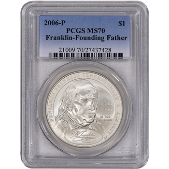 2006-P US Benjamin Franklin Founding Father Commem BU Silver Dollar - PCGS MS70