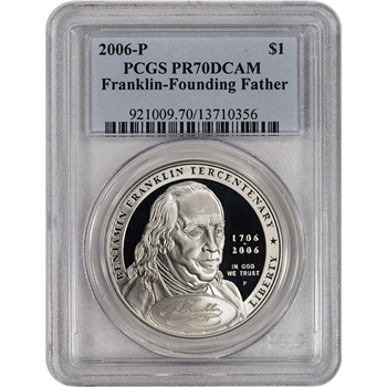 2006-P US Benjamin Franklin Founding Father Commem Proof Silver $1 - PCGS PR70
