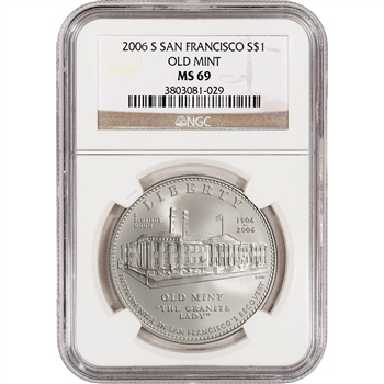 2006-S US San Francisco Old Mint Commemorative BU Silver Dollar - NGC MS69