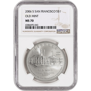 2006-S US San Francisco Old Mint Commemorative BU Silver Dollar - NGC MS70