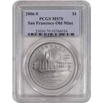 2006-S US San Francisco Old Mint Commemorative BU Silver Dollar - PCGS MS70