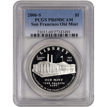 2006-S US San Francisco Old Mint Commem Proof Silver Dollar - PCGS PR69DCAM