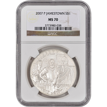 2007-P US Jamestown Commemorative BU Silver Dollar - NGC MS70