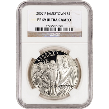 2007-P US Jamestown Commemorative Proof Silver Dollar - NGC PF69UCAM
