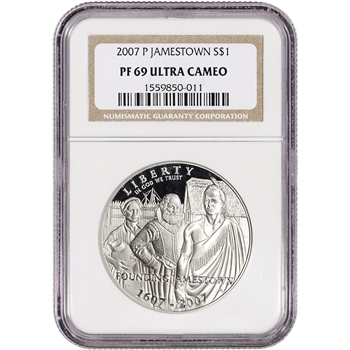 2007-P US Jamestown Commemorative Proof Silver Dollar - NGC PF69 UCAM
