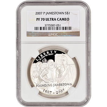 2007-P US Jamestown Commemorative Proof Silver Dollar - NGC PF70UCAM