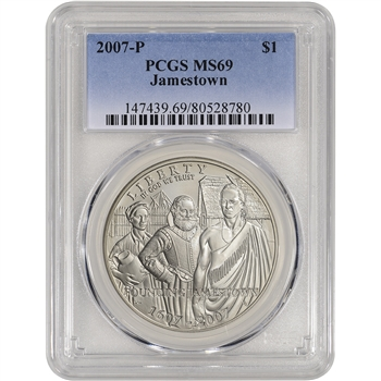 2007-P US Jamestown Commemorative BU Silver Dollar - PCGS MS69
