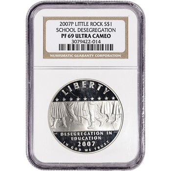 2007-P US Little Rock Desegregation Commem Proof Silver Dollar - NGC PF69 UCAM