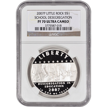 2007-P US Little Rock Desegregation Commem Proof Silver Dollar - NGC PF70UCAM