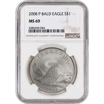 2008-P US Bald Eagle Commemorative BU Silver Dollar - NGC MS69