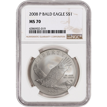 2008-P US Bald Eagle Commemorative BU Silver Dollar - NGC MS70