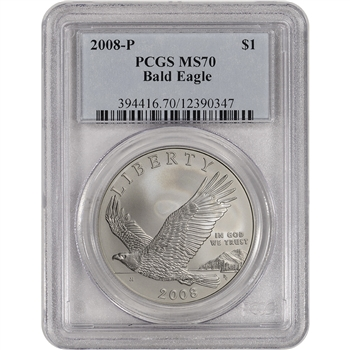 2008-P US Bald Eagle Commemorative BU Silver Dollar - PCGS MS70