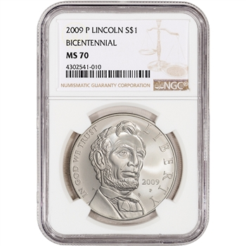2009-P US Abraham Lincoln Commemorative BU Silver Dollar - NGC MS70