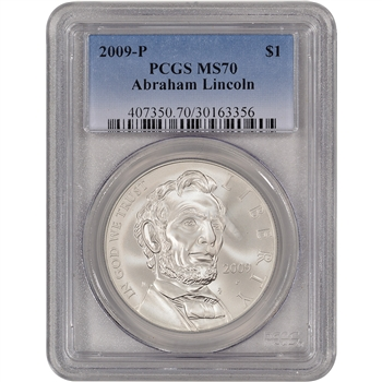 2009-P US Abraham Lincoln Commemorative BU Silver Dollar - PCGS MS70