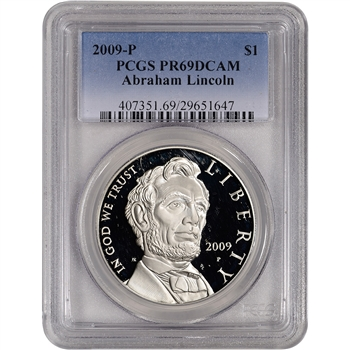 2009-P US Abraham Lincoln Commemorative Proof Silver Dollar - PCGS PR69DCAM