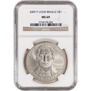 2009-P US Louis Braille Commemorative BU Silver Dollar - NGC MS69
