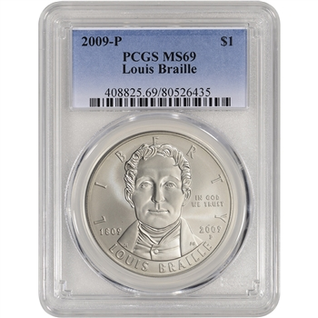 2009-P US Louis Braille Commemorative BU Silver Dollar - PCGS MS69