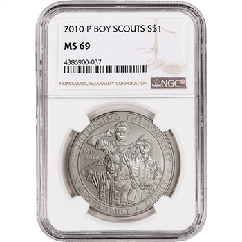 2010-P US Boy Scouts of America Commemorative BU Silver Dollar - NGC MS69