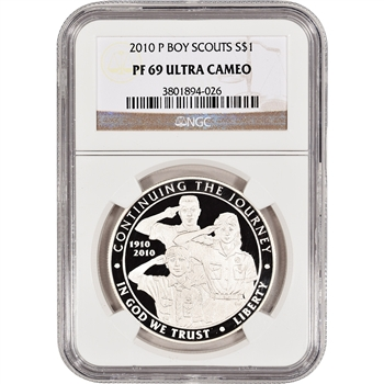2010-P US Boy Scouts of America Commem Proof Silver Dollar - NGC PF69UCAM