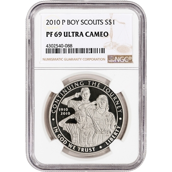 2010-P US Boy Scouts of America Commem Proof Silver Dollar - NGC PF69 UCAM