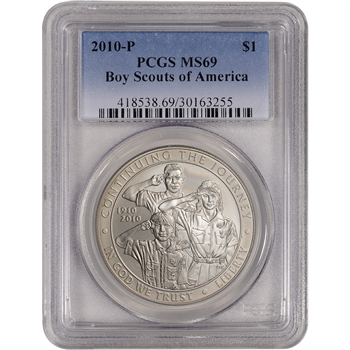 2010-P US Boy Scouts of America Commemorative BU Silver Dollar - PCGS MS69