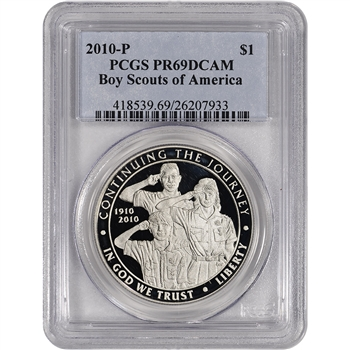 2010-P US Boy Scouts of America Commem Proof Silver Dollar - PCGS PR69 DCAM