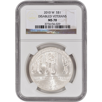 2010-W US Veterans Disabled for Life Commem BU Silver Dollar - NGC MS70