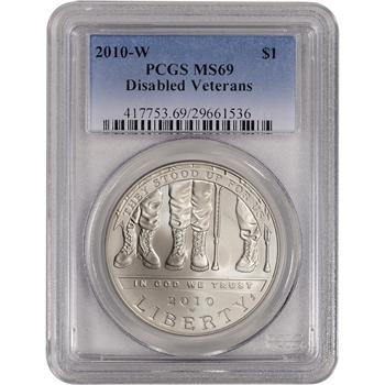 2010-W US Veterans Disabled for Life Commem BU Silver Dollar - PCGS MS69